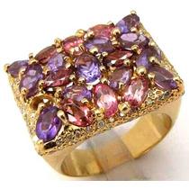 Diamantes, Ametistas E Safiras Exuberante Anel Em 18k 750