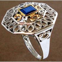 Anel De Prata Com Safira, Águas Marinhas E Ouro - Aro 16