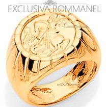 Rommanel Anel Trabalhado Sao Jorge Folheado Ouro 18k 510121