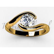 Anel Solitário Ouro Amarelo 18k Diamante 20 Pontos