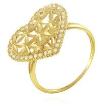 Anel De Ouro 18k Adulto Coração Grande Com Pedras