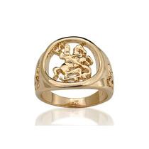 Anel Folheado Ouro São Jorge Vazado Rommanel 511145