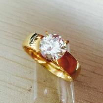 Anel Solitário Folheado A Ouro 18k Luxo Zirconia Cubica 9mm