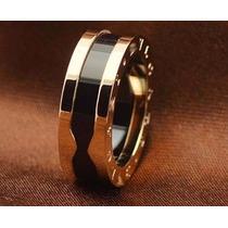 Anel Bvgari Titanium Ceramico Banhado A Ouro Pronta Entrega