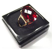 Anel C/ Pedra Grande Cristal Color Rubi Vermelho B/ Ouro