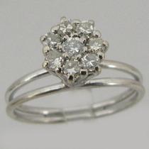 2214 Anel Chuveiro De Diamante De Ouro Branco 18k 750 Y