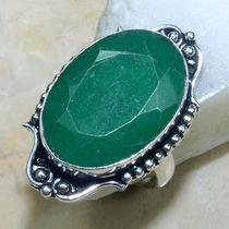 Anel De Prata 925 Feminino Pedra Esmeralda Natural