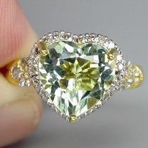 Anel Prata 925 E Ouro Amarelo Ametista Verde E Brilhante