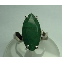 Anel Esmeralda Natural Lapidação Navete Em Prata 950