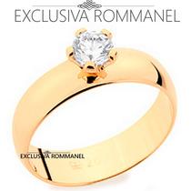 Rommanel Anel Aliança Folh Ouro Solitário Casamento 511401