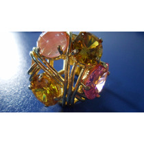 Anel Excluzivo Tres Zirconi E Um Cristal Cereja Amarelo Rosa