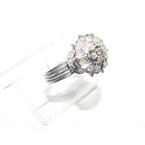 Anel Antigo Chuveiro 17 Diamantes Ouro Branco 18k 750