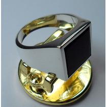 Anel Prata 950 Masculino Quadrado Classico Pedra Onix Lindo