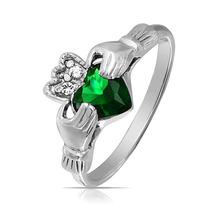 Bling Jewelry Silver Celtic Claddagh Emerald Cz Anel Coração