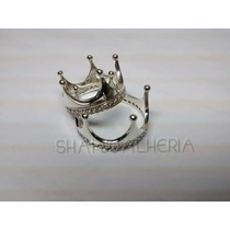 Par De Anel Coroa Em Prata 950 - Shai Joalheria- Presente