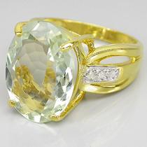 Anel Prata 925 E Ouro Amarelo 14k Ametista Verde