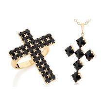 Conjunto Rommanel Anel+pingente Crucifixo Giovanna Antoneli