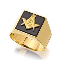 Anel Ouro 18k Pedra Ônix Maçonaria Banhado