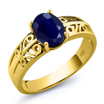 1.79 Ct Oval Azul Safira 14k Anel De Ouro Amarelo