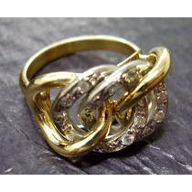 Anel Maravilhoso Com Diamantes Em Ouro18k Legitimo !!