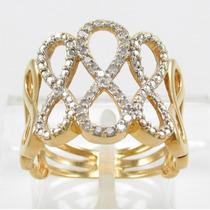 Esfinge Jóias - Anel Infinito Diamantes Aro16 Ouro 18k 750.