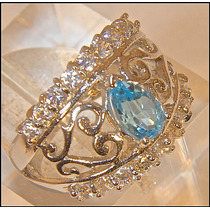Rsp J4386 Anel Prata 925 Topázio Azul Suíço Sedex Grátis