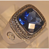 Rsp J2999 Anel Prata Obsidiana Safira Azul Royal Sedex Gráti