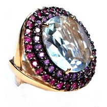 Lnx-anel Rubi Ametista Topazio Folheado Ouro 18k