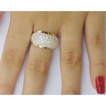 Anel Prata 950 Maciça Com Pave Zircônias E Ouro 18k Feminino