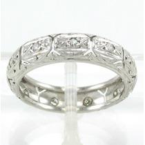 Esfinge Jóias- Anel Aliança Inteira Platina Diamante Aro14,5