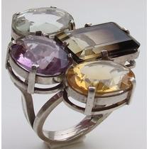 Anel De Prata Com Pedras Preciosas (perfeito) Exclusivo