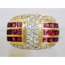Boqueiraojoias Anel Gigante 40 Diamantes 42 Rubis Ouro 18k