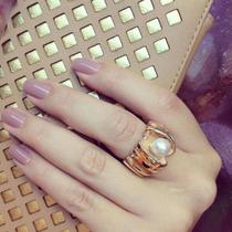 Anel Banhado Semijoia Ouro 18k Com Pérola Branca