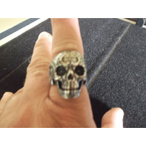 Anel Caveira Tatuada Em Aço Inox Importado Motoqueiro Rock