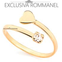 Rommanel Anel Falange Espiral Coracao Cristal Fo Ouro 511895
