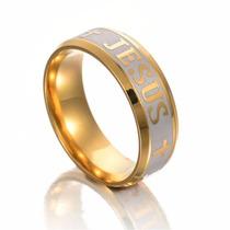 Par-anel Aliança Titânio Banhado Ouro 18k Filled Jesus Cruz