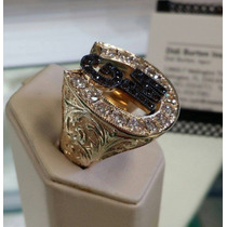 Anel Ferradura Masculino De Luxo Com Diamantes