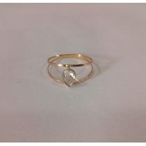 Anel Com Pedra Gota Zirconia Feminino 2 Fios - Ouro 18k