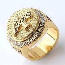 Anel Masculino Lakers Champions Banhado A Ouro Com Zirconia