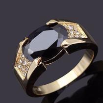 Anel Masculino Aro 25 Onix Negra Banhado Em Ouro - J1931a