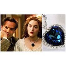 Colar Titanic Coração Do Oceano Pedra Azul