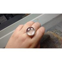 Anel Prata 950 Chevalier Com Pedra Cristal