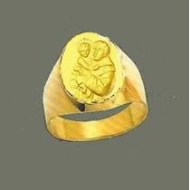 Anel Ouro 18k 750 Com Imagem De Santo Antonio U,i