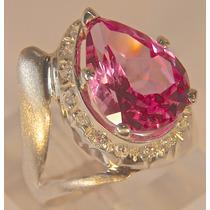 Rsp J3879 Anel Prata 925 A Ouro Safira Rosa Brilhantes Frete