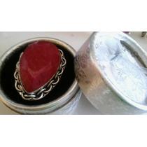 Anel Feminino Prata 925 Pedra Rubi Natural Grande Aro 23/24