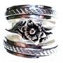 Idi-anel Triplo Boho Flor Prata 925