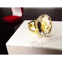 Anel C/ Pedra Grande Quartzo Branco Natural Brpedras B/ Ouro