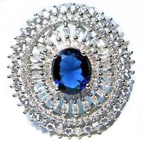 Hfx-anel Prata 925 Zirconia Tom Safira Rodio Frete 1,0