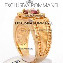 Rommanel Anel Formatura 4 Zirconias Masculino Lilas 511753