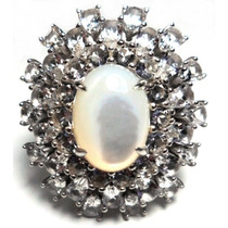 Ilm-anel Prata 925 Cristal Madreperola Rodio